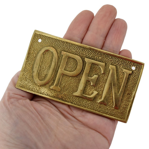 Vintage OPEN CLOSED Sign Cast Brass Reversible NOS 1960s - Premier Estate Gallery