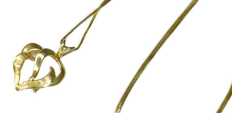 Estate 14k Gold Heart Pendant with Chain Italy - Premier Estate Gallery