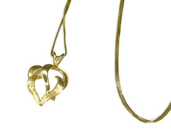 Estate 14k Gold Heart Pendant with Chain Italy - Premier Estate Gallery 2