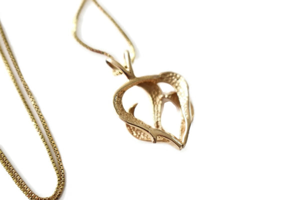 Estate 14k Gold Heart Pendant with Chain Italy