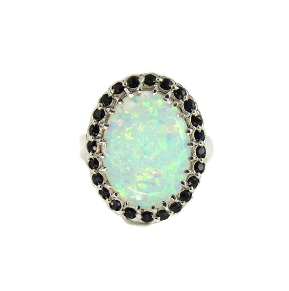 14k Lab Opal and Sapphire Ring White Gold - Premier Estate Gallery  - 3