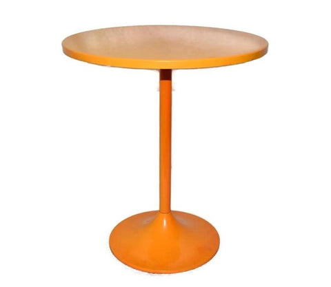 MCM Enamel Orange Accent Table Saarinen Style - Premier Estate Gallery