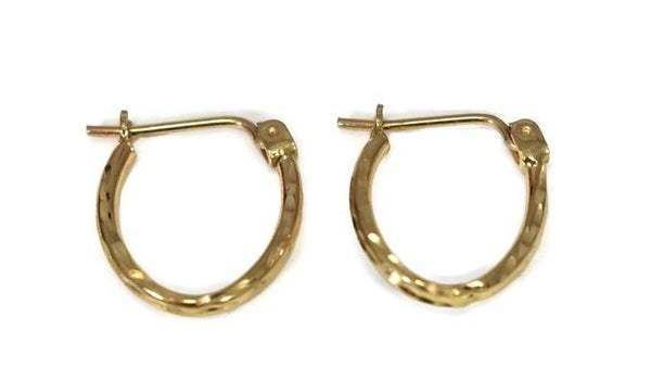 Vintage 14k Gold Small Oval Hoop Earrings, Light Weight Dainty Gold Hoops - Premier Estate Gallery 1
