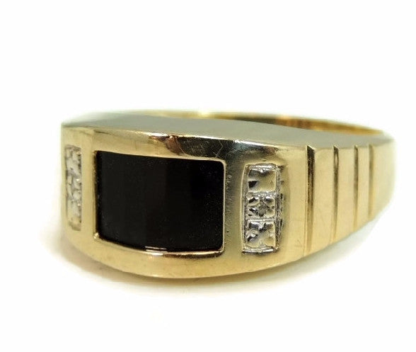 10k Gold Onxy Men's Ring Contemporary Vintage - Premier Estate Gallery  - 2