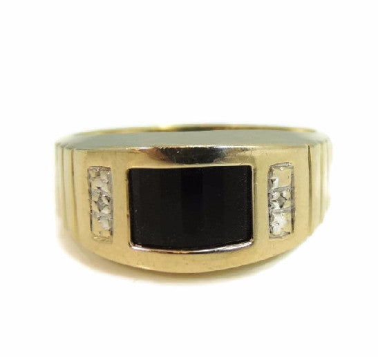 10k Gold Onxy Men's Ring Contemporary Vintage