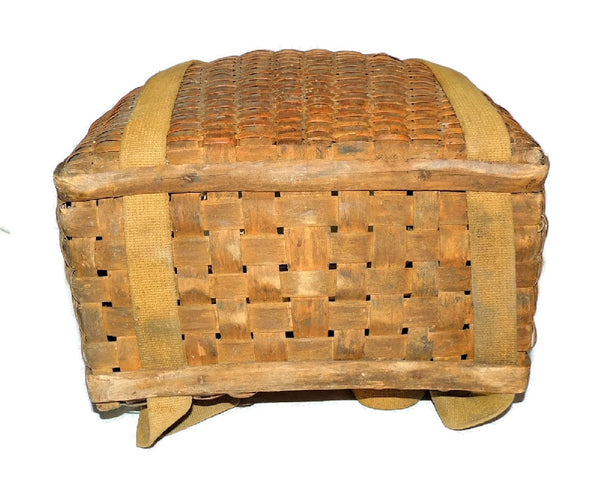 Splint Pack Basket Vintage Adirondack Basket 1930s Primitives - Premier Estate Gallery  - 3