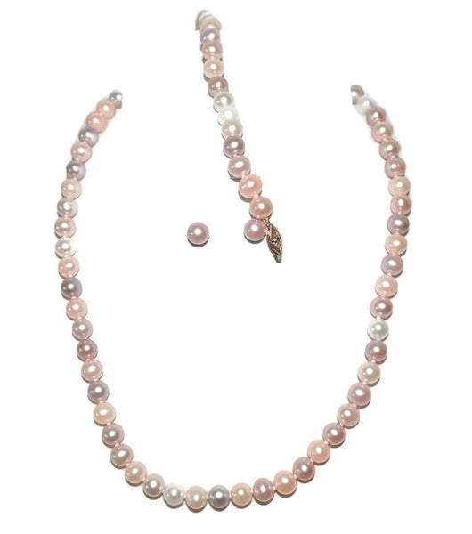Spring Pastel Pearl Jewelry Set 14k Gold Filigree Setting - Premier Estate Gallery  - 4