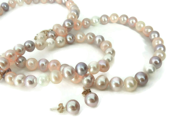 Spring Pastel Pearl Jewelry Set 14k Gold Filigree Setting - Premier Estate Gallery  - 2