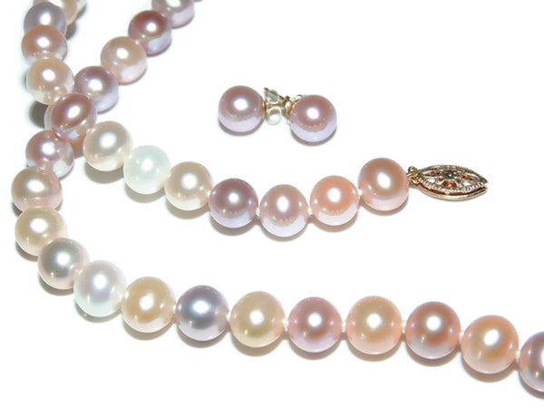 Spring Pastel Pearl Jewelry Set 14k Gold Filigree Setting - Premier Estate Gallery - 1