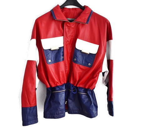 1980s Patriotic Leather Jacket Wilson's Leather Red White Blue - Premier Estate Gallery 1