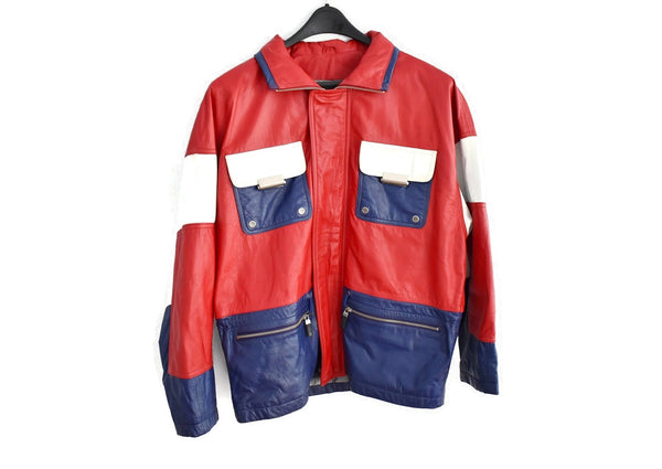 1980s Patriotic Leather Jacket Wilson's Leather Red White Blue - Premier Estate Gallery 2