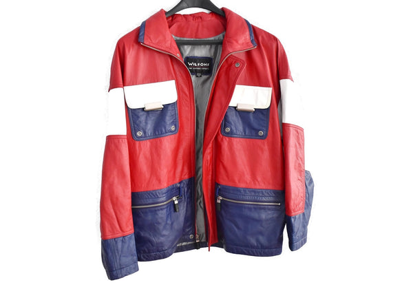 1980s Patriotic Leather Jacket Wilson's Leather Red White Blue - Premier Estate Gallery 3