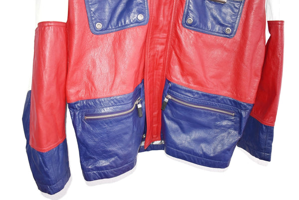 1980s Patriotic Leather Jacket Wilson's Leather Red White Blue