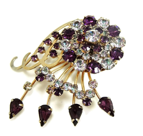 Purple Rhinestone Glamour Spray Brooch Vintage - Premier Estate Gallery  - 1