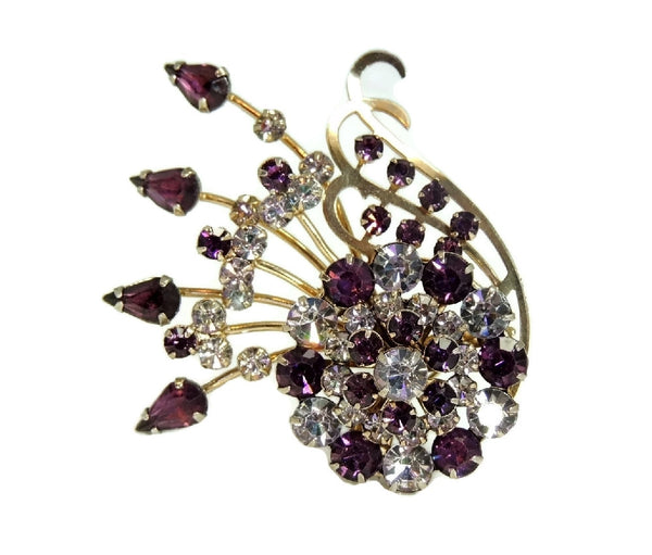 Purple Rhinestone Glamour Spray Brooch Vintage - Premier Estate Gallery  - 2