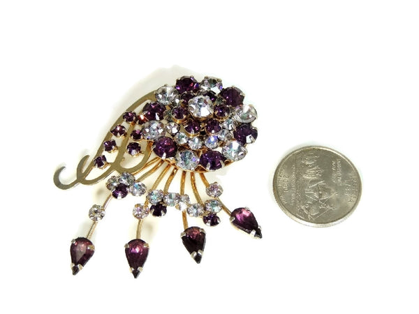 Purple Rhinestone Glamour Spray Brooch Vintage - Premier Estate Gallery  - 3