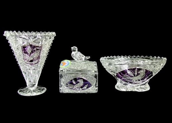 Vintage German Lead Crystal Trinket Miniatures Purple Birds