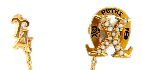Antique 14k Chi Omega Sorority Pin Badge with attach Upsilon Alpha Chapter Pin - Premier Estate Gallery