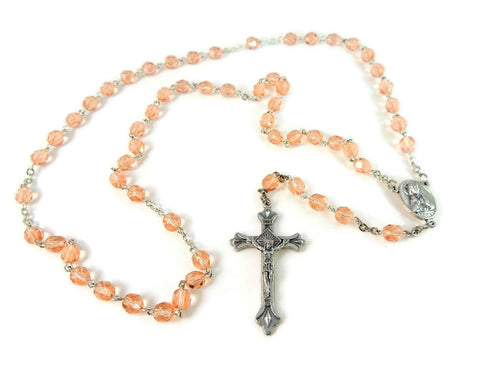 Vintage Peach 5 Decade Rosary Beads Italy - Premier Estate Gallery  - 1