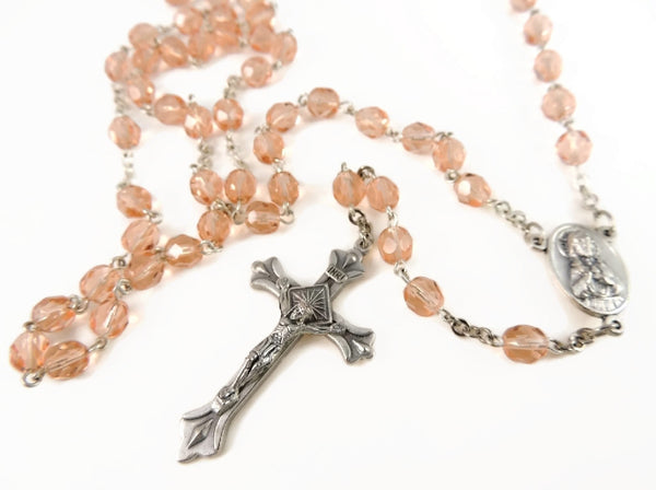 Vintage Peach 5 Decade Rosary Beads Italy - Premier Estate Gallery  - 2
