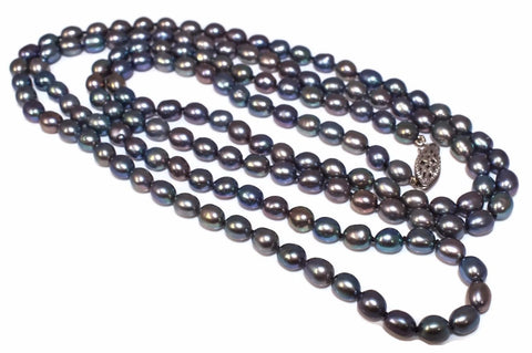 Vintage Freshwater Peacock Pearl Necklace Rope Length 38 Inches 14k Clasp - Premier Estate Gallery