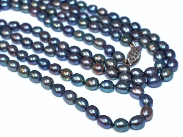 Vintage Freshwater Peacock Pearl Necklace Rope Length 38 Inches 14k Clasp - Premier Estate Gallery 2