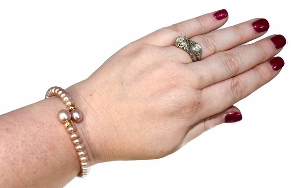 Vintage Pink Pearl Flexible Cuff Bracelet with 14k Beads - Premier Estate Gallery 3