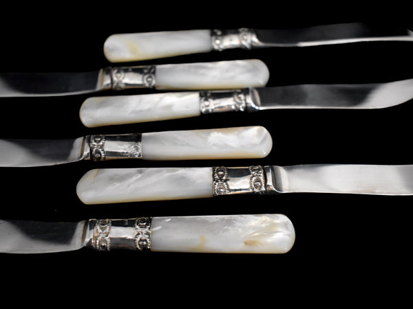 Antique Mother Of Pearl Sterling Handle Fruit Knives Orig Box Set of 6 National Silver Co