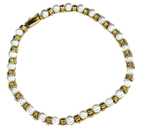 Estate 14k Pearl Gold Link Bracelet 9 grams - Premier Estate Gallery