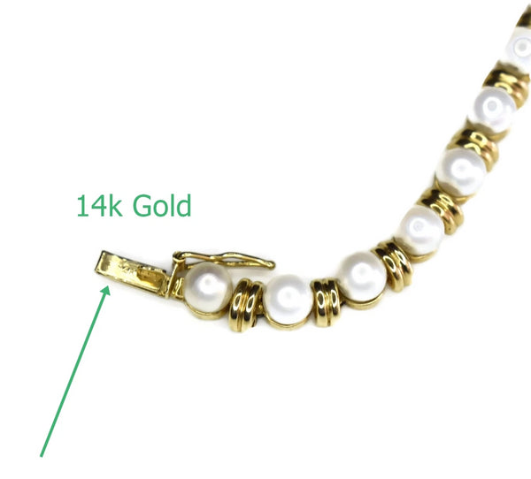 Estate 14k Pearl Gold Link Bracelet 9 grams 8 inch