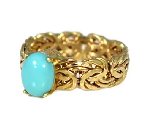 Estate 14k Persian Turquoise Ring in Byzantine Link Style Setting - Premier Estate Gallery 2