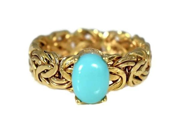 Estate 14k Persian Turquoise Ring in Byzantine Link Style Setting - Premier Estate Gallery 3