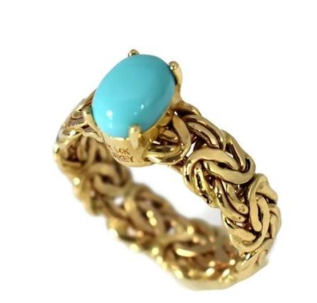 Estate 14k Persian Turquoise Ring in Byzantine Link Style Setting - Premier Estate Gallery