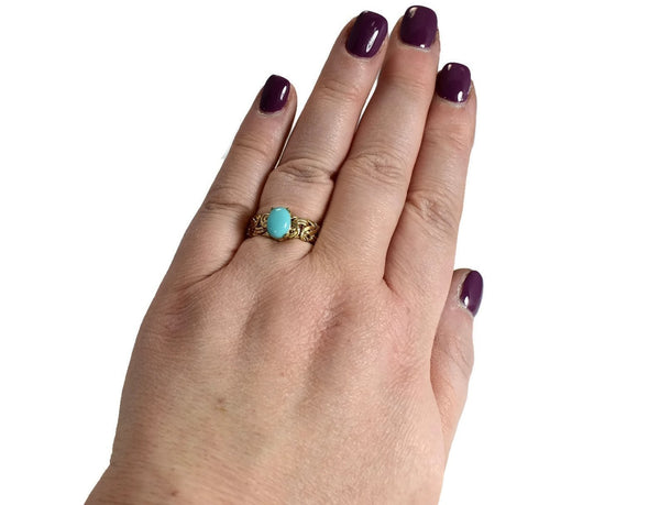 Estate 14k Persian Turquoise Ring in Byzantine Link Style Setting