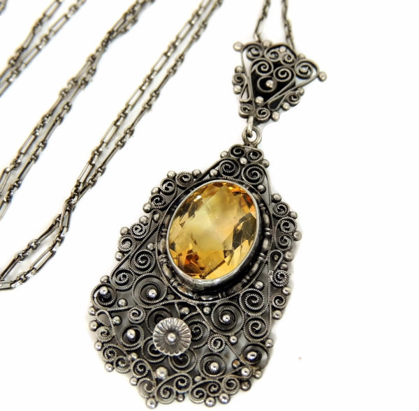 Antique Silver Peruzzi Citrine Necklace Art Nouveau