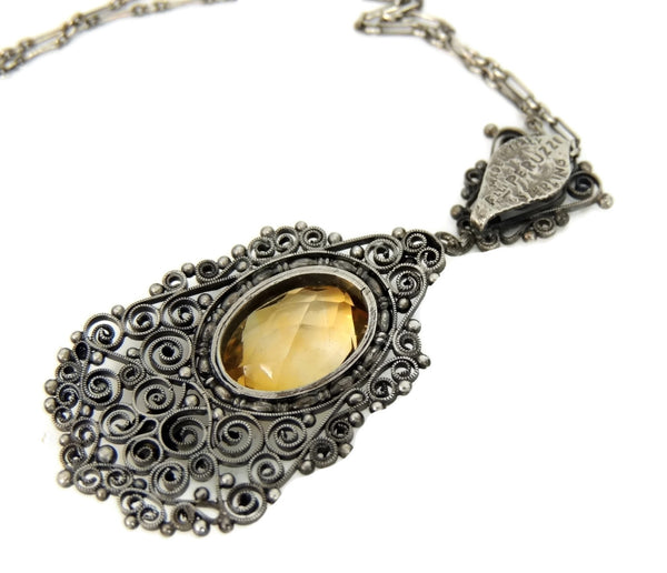 Antique Silver Peruzzi Citrine Necklace Art Nouveau Italy