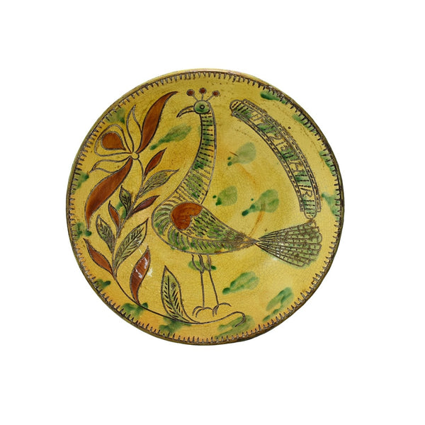 Folk Art Style Redware Sgraffito Bird Plate Met Museum Repro 18th Cent - Premier Estate Gallery