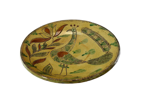 Folk Art Style Redware Sgraffito Bird Plate Met Museum Repro 18th Cent Heinrich Roth