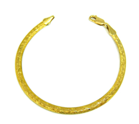 14k Patterned Herringbone Bracelet Yellow Gold