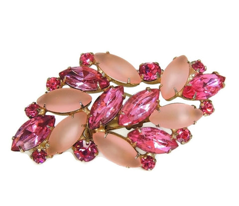Vintage Pink Rhinestone Brooch Fire and Frost Dazzling - Premier Estate Gallery  - 1