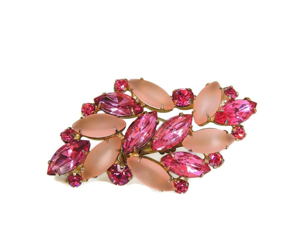 Vintage Pink Rhinestone Brooch Fire and Frost Dazzling - Premier Estate Gallery  - 2