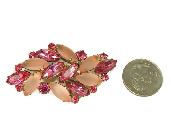 Vintage Pink Rhinestone Brooch Fire and Frost Dazzling - Premier Estate Gallery  - 3