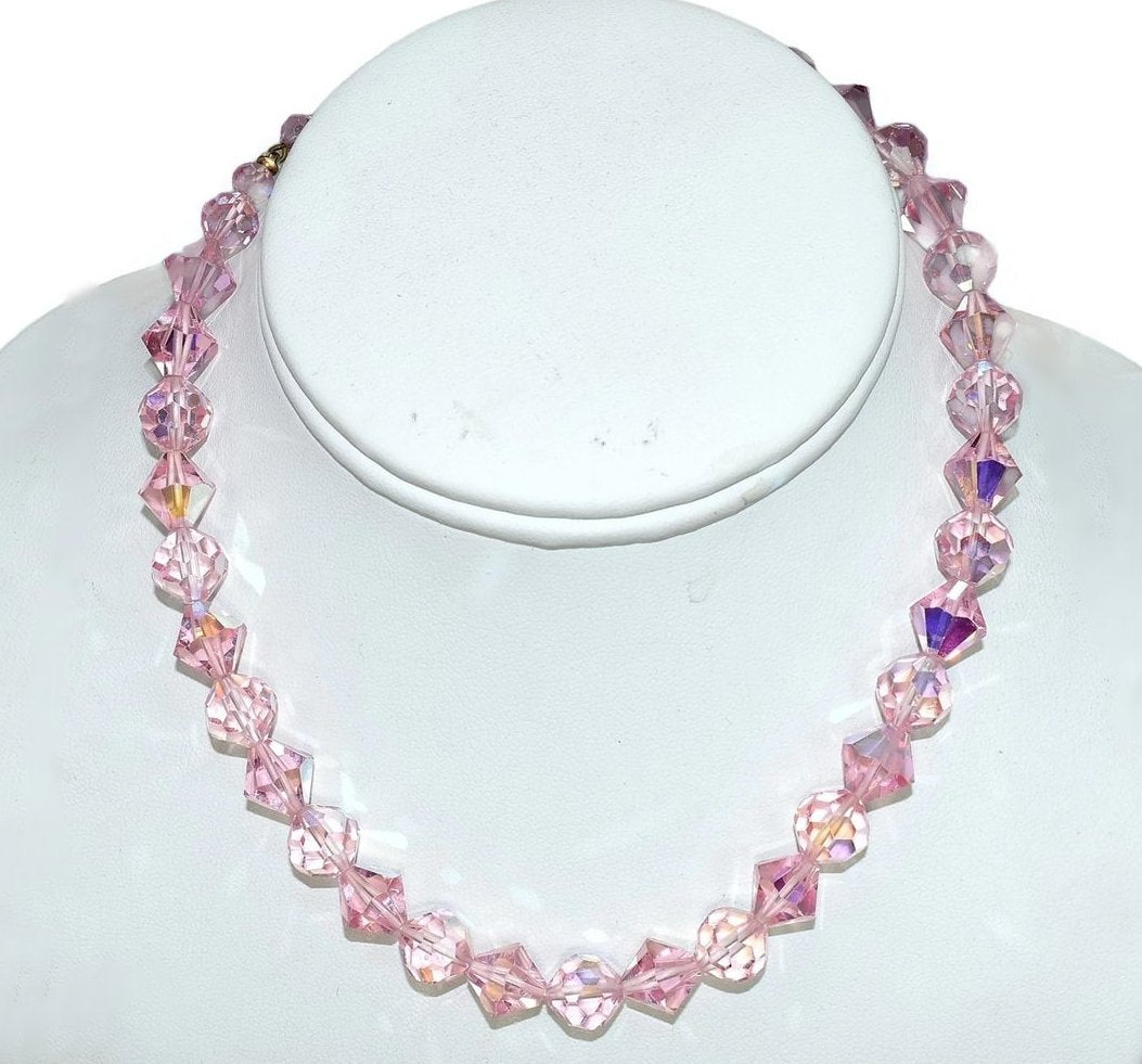 with pink necklace j lovely glass ruby vintage sold item crystal lane bead spacers