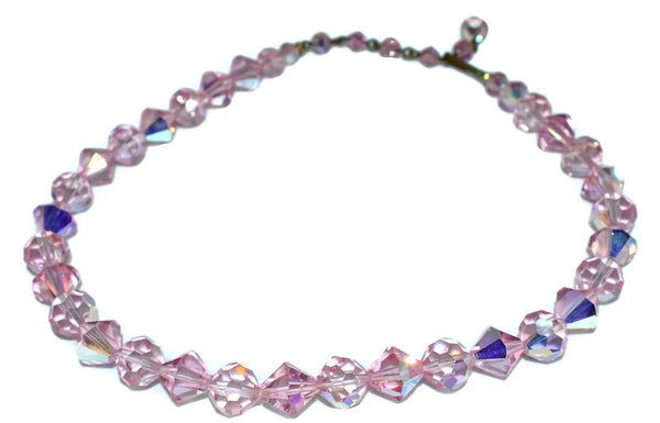 Pink AB Crystal Iridescent Beads Choker Necklace Vintage - Premier Estate Gallery 4