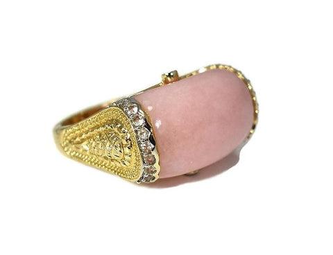 14k Pink Peruvian Opal Etruscan Style Ring - Premier Estate Gallery