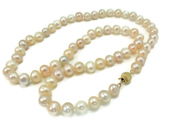 Pastel Akoya Cultured Pearl Necklace 14k Clasp Vintage Estate Jewelry