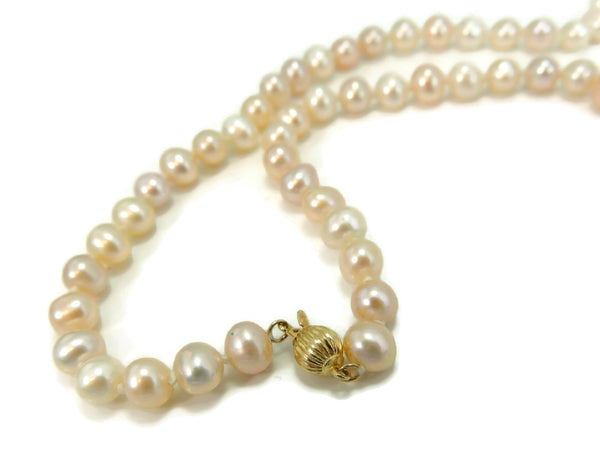 Pastel Akoya Cultured Pearl Necklace 14k Clasp Vintage Estate Jewelry - Premier Estate Gallery  - 2