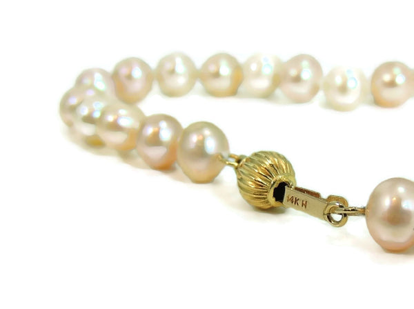 Pastel Akoya Cultured Pearl Necklace 14k Clasp Vintage Estate Jewelry - Premier Estate Gallery  - 3
