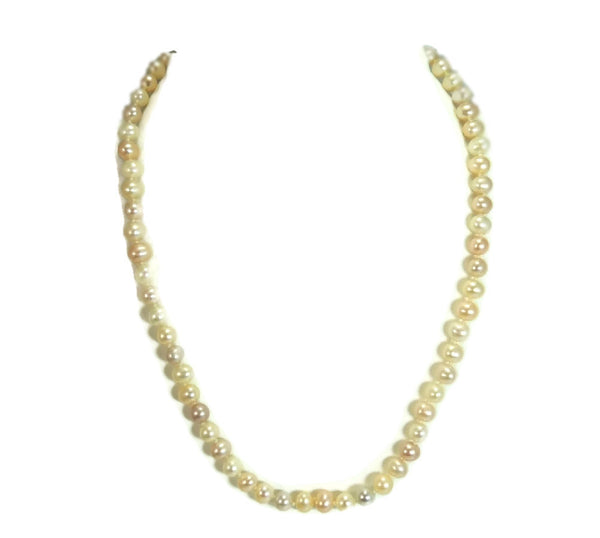 Pastel Akoya Cultured Pearl Necklace 14k Clasp Vintage Estate Jewelry - Premier Estate Gallery  - 4