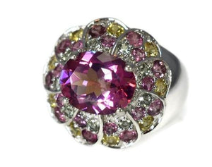 Pink Tourmaline Multi Gem Cocktail Ring in Sterling Silver - Premier Estate Gallery 1